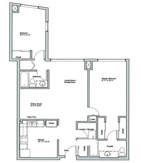 Image of Crestview suite floor plan only