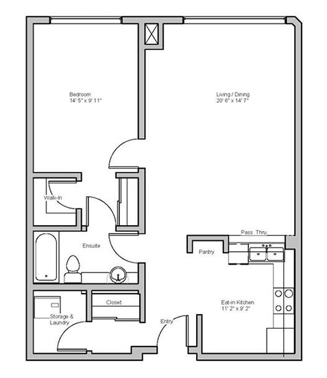 Image of roselawn suite floor plan only