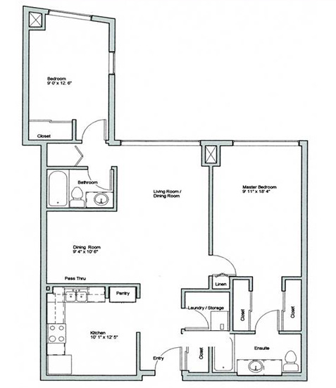 Image of Crestview suite floor plan only